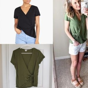 J. Crew Olive Green Wrap Front Tee